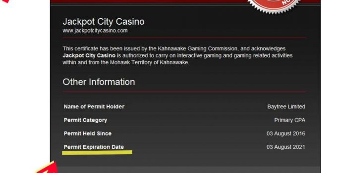 Jackpot City casino Kahnawake license