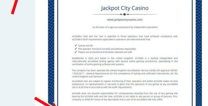 Jackpot City casino ecogra certificate