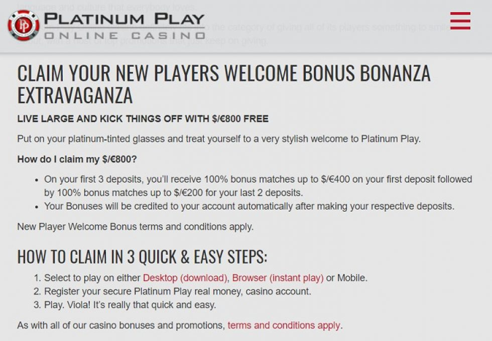 Platinum Play welcome bonus