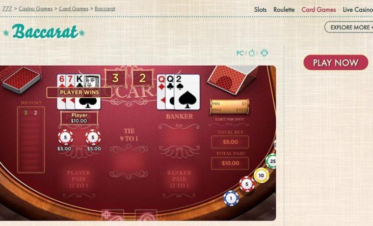 Baccarat at 777 Casino