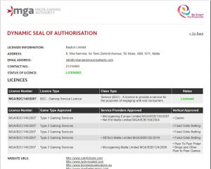 example of MGA license