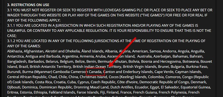 example of restricted casino for canadians