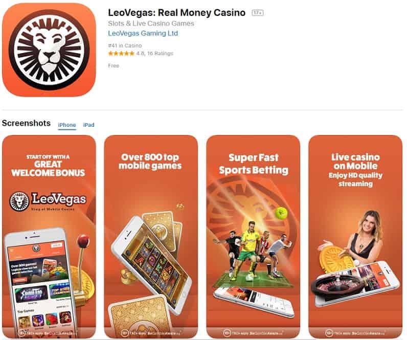 Leovegas casino iOS app