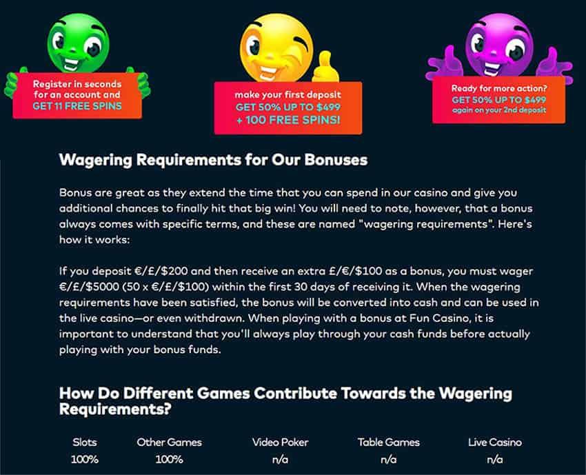 funcasino welcome bonus wagering requirements