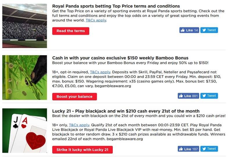 Royal Panda promotions page