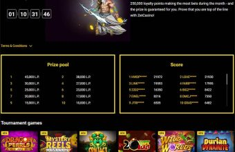 Zet Casino monthly race tournament